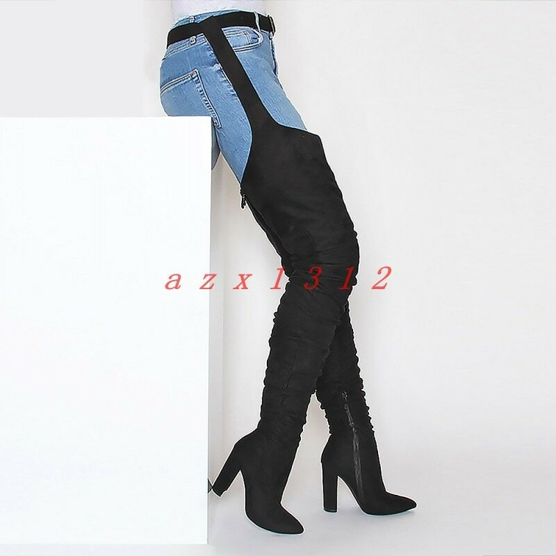 Women Pointy Toe High Block Heel Zip Suede Thigh Boot shoes Belt Sexy New 2019 YH