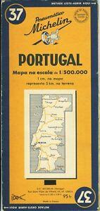 Karte-Michelin-37-Portugal-Edition-Portugiesisch-1952-Sehr-Bel-Etat