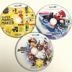 Lot-of-3-Nintendo-Wii-U-Games-Mario-Kart-8-Mario-Maker-Smash-Bros-Discs-Only