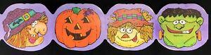 Vintage-HALLOWEEN-Die-Cut-Paper-Decorations-LOT-Frankenstein-Witch-Scarecrow