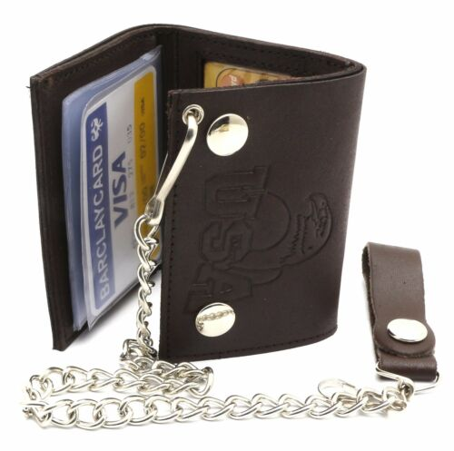 Trifold Brown Leather Biker Chain Wallet Embossed USA Eagle Design