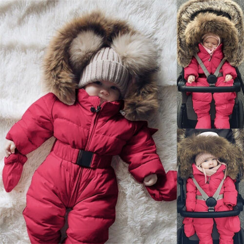 Toddler Baby Boy Girl Winter Romper Jacket Hooded Jumpsuit Thick Warm Coat