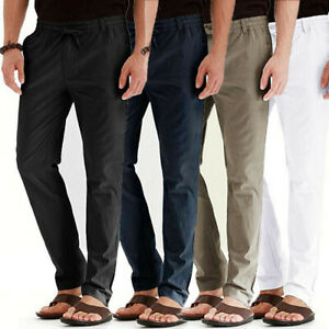 Men-039-s-Boy-Casual-Linen-Breathable-Loose-Long-Pants-Solid-Color-Straight-Trousers