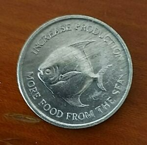 Singapore-5-Cents-Coin-Features-Pomfret-Fish-of-Year-1971-A-FINE-amp-NICE-Coin