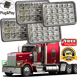 Image is loading 4x6-034-LED-Headlight-4Pc-For-Kenworth-Peterbilt- & 4x6
