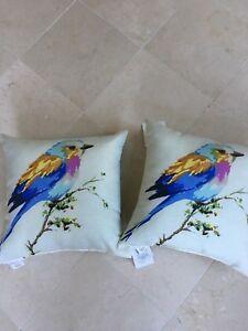 Pr Beige Indoor Outdoor Throw Pillows Multi Colored Bird For Patio