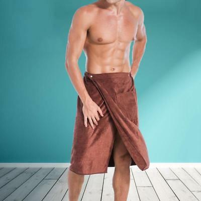 Adjustable Men Bath Towel with Pockets Man Cotton Bath Skirt Shower Wrap