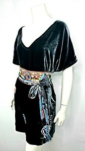 NWT-Gorgeous-Love-Johnny-Was-Emerald-Velvet-JWLA-Embroidered-Dress-S-315