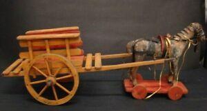 Cavallo Di Legno Giocattolo.Dettagli Su Antico Carretto Con Cavallo In Legno Giocattolo Gioco