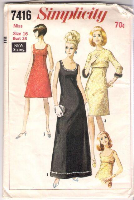 Simplicity Pattern 7416 Vintage 1967 Dress And Jacket Size 16 Bust 38 Uncut