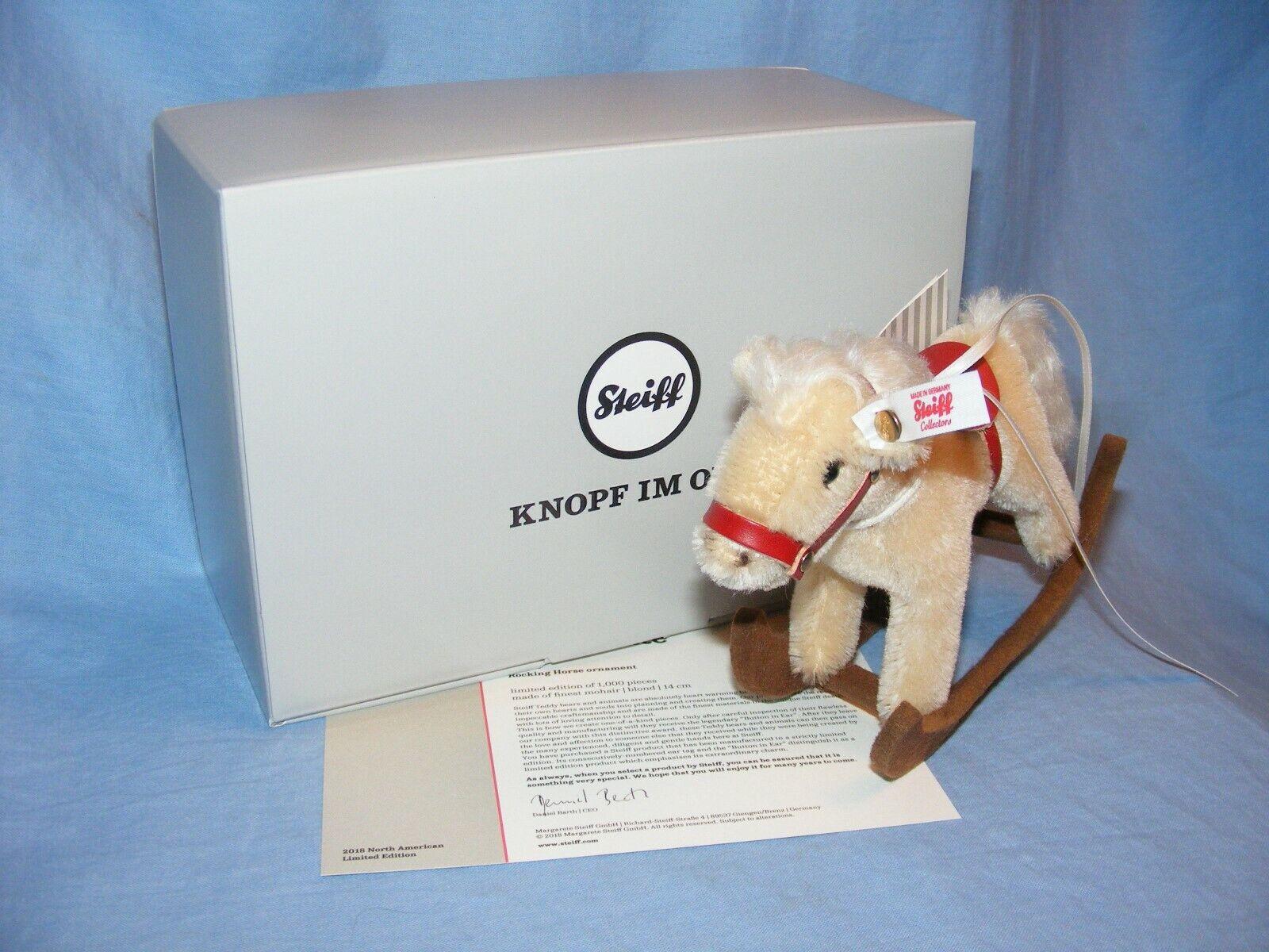 Steiff Cavallo a Dondolo Ornamento 683398 Edizione Limitata Natale