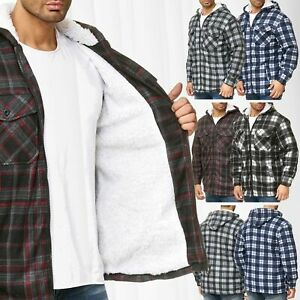 Messieurs-bucheron-Veste-a-carreaux-Thermo-Chemise-Double-Flanelle-Sweat-Shirt-Capuche