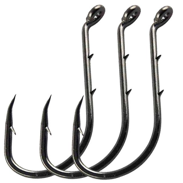 100pcs Octopus Circle Hooks Black High Carbon Steel Strong Offset Fishing Hooks