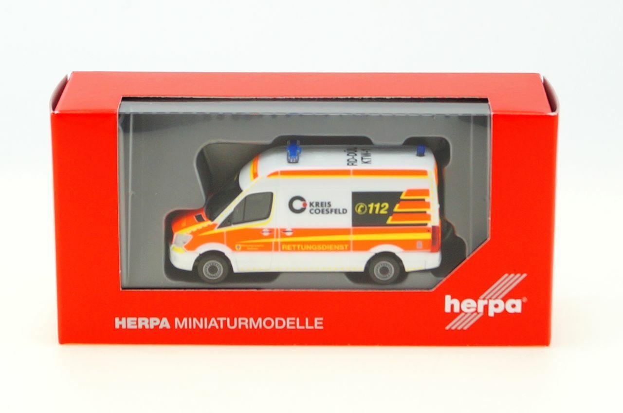 """HERPA 1:87//H0 MB Sprinter Bus Hochdach /""""KTW Rettungsdienst Dülmen/"""" #093934 NEU"""