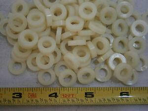 ".500/"" x .120/"" x .060/"" Flat washer natural Nylon lot of 100 #1019"