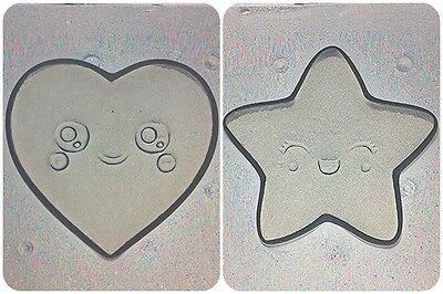 Flexible Resin Mold Small Kawaii Star & Heart Shape Set of 2