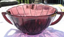 Vintage Hazel Atlas Hairpin / Newport Amethyst Glass Handled Bowl