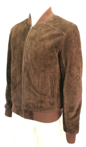 Cuir 70s Retro Classic Oliver Fitted En Suede Brown Veste Bomber Mens Rock 100 pxqw4
