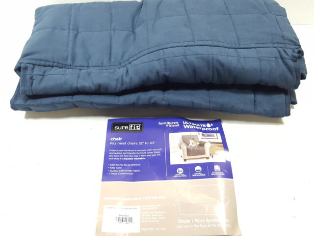 Enjoyable Surefit Ultimate Waterproof Quilted Throw Chair Slipcover Storm Blue Unemploymentrelief Wooden Chair Designs For Living Room Unemploymentrelieforg