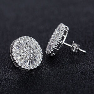 7568d9696 Luxury Round Stud Earrings for Women 925 Silver White Sapphire ...