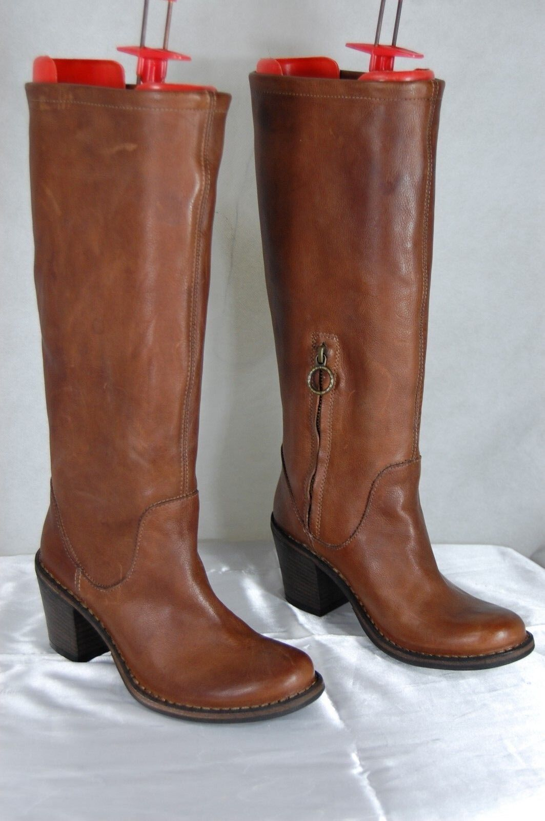 FIORENTINI+ BAKER WOMEN BIKER RIDING LEATHER TALL BOOTS US 6 MADE IN ITALY