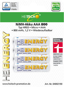 4 x nimh akku heitech hr03 aaa micro 800 mah stiftung. Black Bedroom Furniture Sets. Home Design Ideas