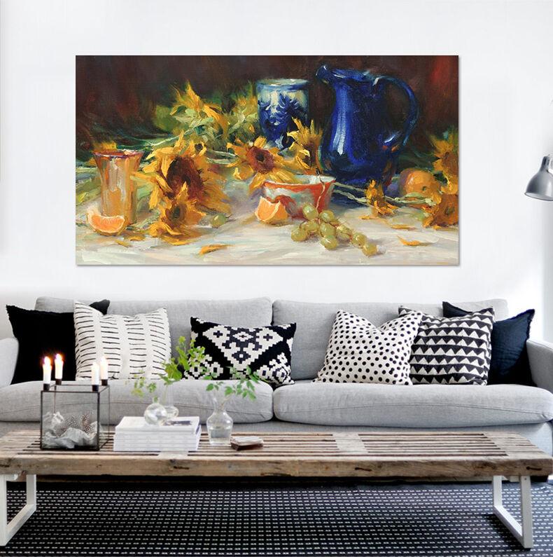 3D Sonnenblueme bluee Vase 9646 Fototapeten Wandbild BildTapete AJSTORE DE Lemon