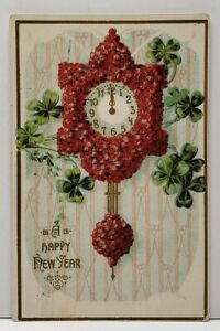 Happy-New-Year-Floral-Clock-Strikes-Midnight-Embossed-1911-Wisconsin-Postcard-G2