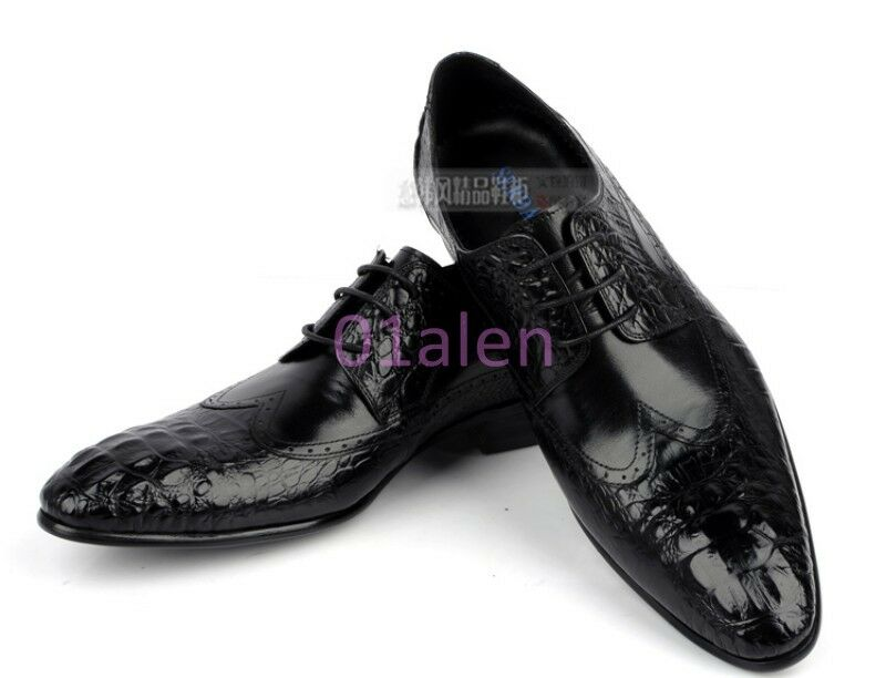 uomo Alligator Crack Bridal Vintage Brogue Leather Dress Formal Luxury Chic Shoes Scarpe classiche da uomo