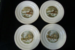 4 Collector plates Harkerware Currier & Ives Farmer\'s Home & Home In ...
