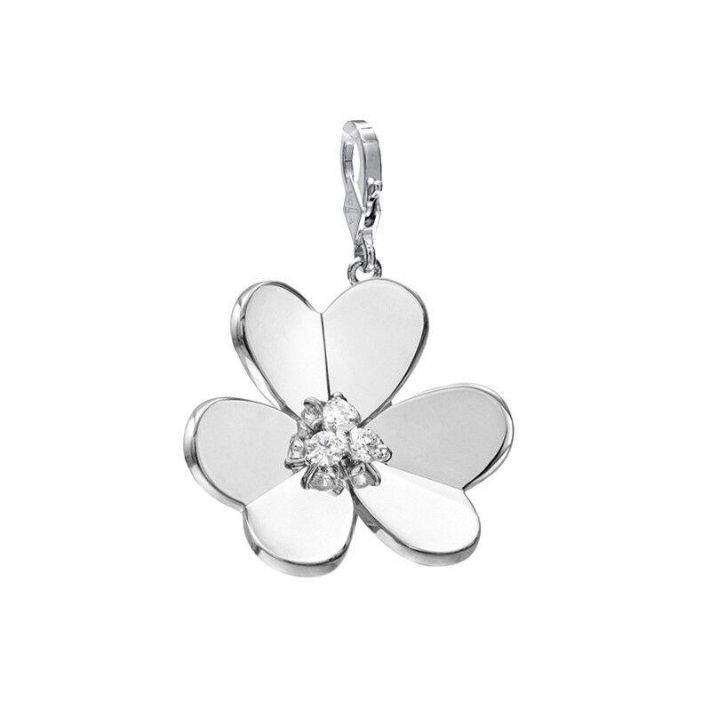 FULL SET Van Cleef & Arpels VCA Frivole Flower LARGE Pendent Charm White gold