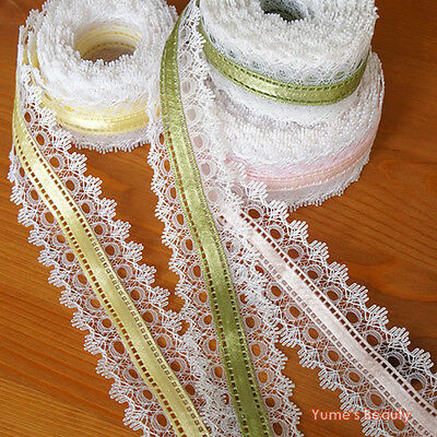 1 yard: White Lace Trim w/ Color Ribbon Lolita Fashion Embellishment