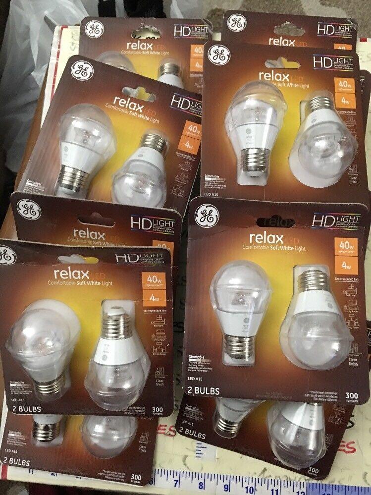 12X2PK GE RELAX LEd Dimmable HD Light bulbs A15 Relax 4-watt (Replaces 40-watt)