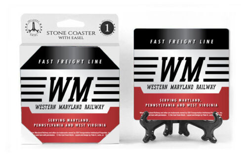 Bar Accesories Western Maryland RR  Logo Man Cave Ceramic Stone Coasters