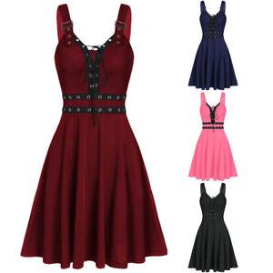 Women-Plus-Size-Gothic-Punk-Bandage-Irregular-Hem-Sleeveless-Camisole-Mini-Dress