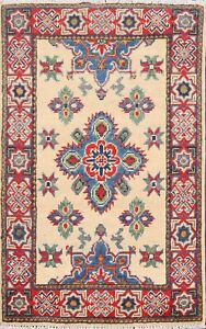 Traditional-Hand-Knotted-Super-Kazak-Geometric-Oriental-Area-Rug-Wool-Carpet-2x3