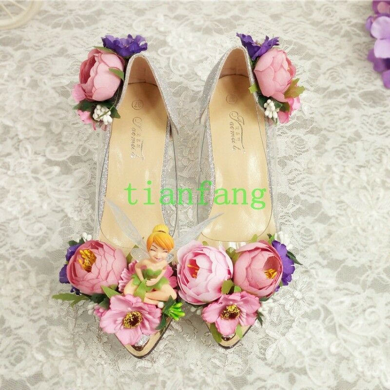 Pointed Toe Womens Slip On Flowers Wedding Rhinestones Beads Banquet Shoes Chic