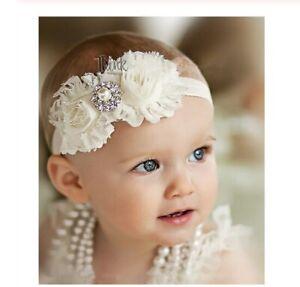 bonne vente de chaussures collection de remise vente chaude pas cher Dettagli su Fascia capelli bambina neonata bianco /rosa cerimonia  matrimonio feste battesimo