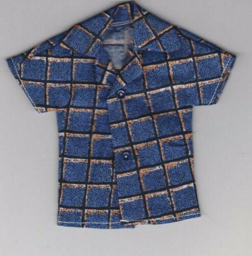 Homemade Doll Clothes-Window Pane LOOK Print Shirt fits Ken Doll B5