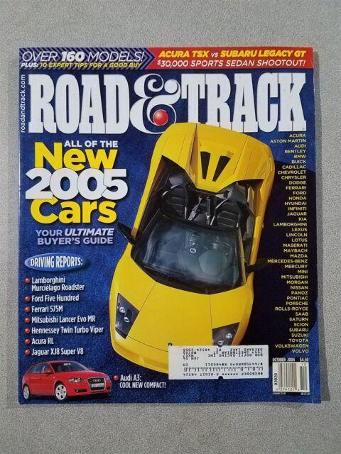 Road & Track Magazine October 2004 Jaguar XJ8 - Audi A3 - Lamborghini Murcielago
