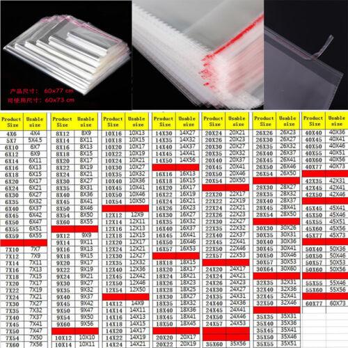 100pcs 9x16cm Clear Bag  Plastic OPP Bag  Card Display Self Adhesive Peel Seal