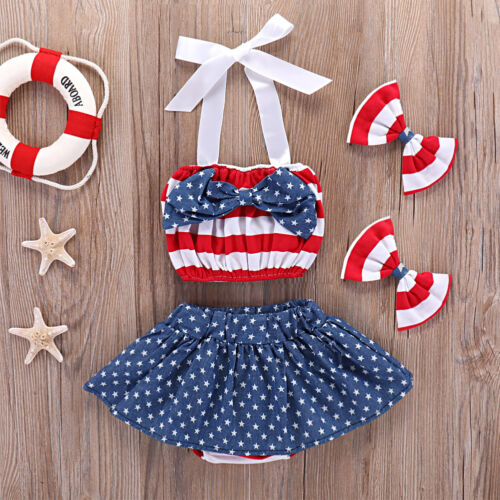 4PCS bébé fille 4th de Juillet Drapeau Américain Crop Top Pantskirt Vêtements Tenues