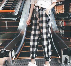 Trendy-Korean-Fashion-Grids-Checks-Loose-Summer-Women-Harem-Casual-Linen-Pants