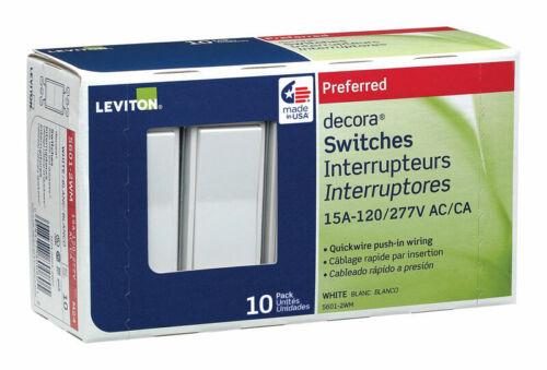 Leviton  Decora  15 amps Single Pole  Rocker  Switch  White  10 pk