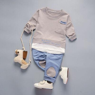 2PCS Infant Kids Baby Boy Long Sleeve Tops Shirt+Pants Casual Party Suit Clothes