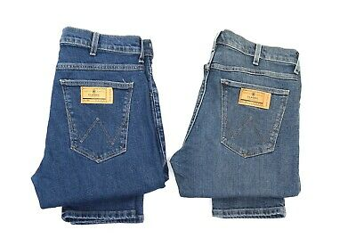 Mens Ex Wrangler Larston Stretch Slim Fit Tapered Jeans Blue WA137 SECONDS