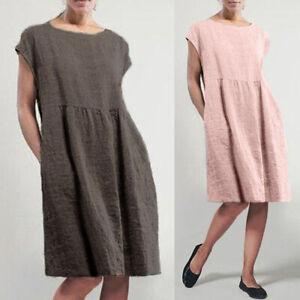 ZANZEA-Women-Short-Sleeve-Sundress-Casual-Solid-Knee-Length-Shirt-Dress-Plus-Top