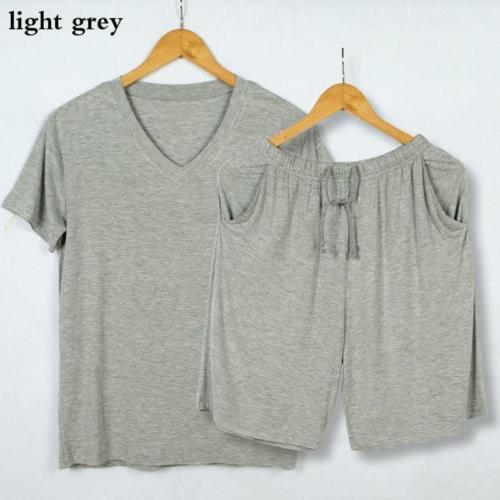 Men Modal Pajamas Set Nightwear Sleepwear Loungewear Casual Oversize V Neck Soft
