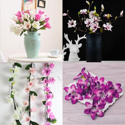 Plastic Triple Head Artificial Butterfly Orchid Silk Flower Home Wedding Decor