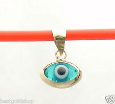 3D Oval Ocean Blue Evil Eye Good Luck Charm Pendant Real 14K Yellow Gold